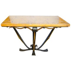 Art Deco Wrought Iron and Marble Table