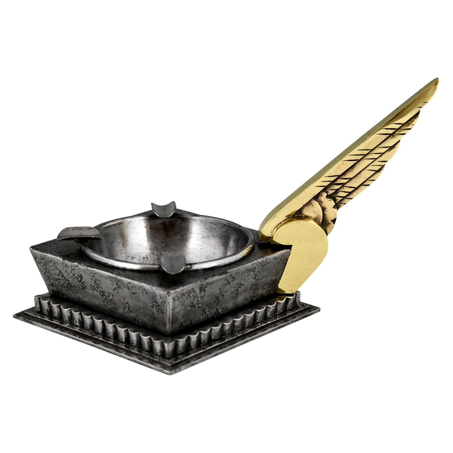 Art Deco Wrought Iron Ashtray with Wing Edgar Brandt, 1930