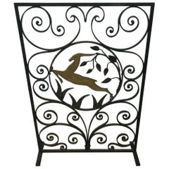 Art Deco Wrought Iron Fire Screen