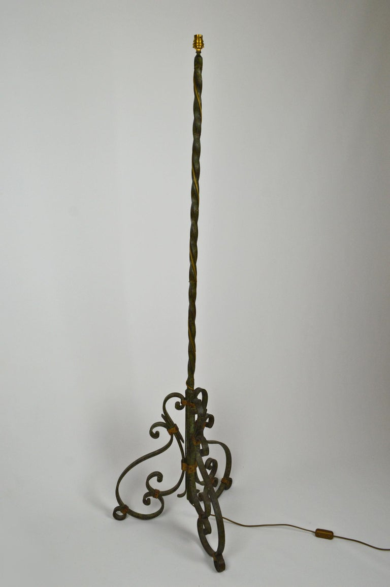 Art Deco Wrought Iron Floor Lamp With Green And Gold Patina 1940s For Sale At 1stdibs