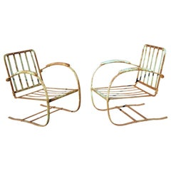 Art Deco Wrought Iron Green Distress Paint Patio Bouncer Lounge Chairs, a Pair