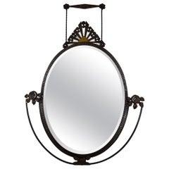 Art Deco Wrought Iron Wall Mirror, France, circa 1925