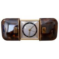 Art Deco Wuba Faux Turtle Shell Traveling Clock