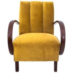 Art Deco Yellow Armchair by J. Halabala