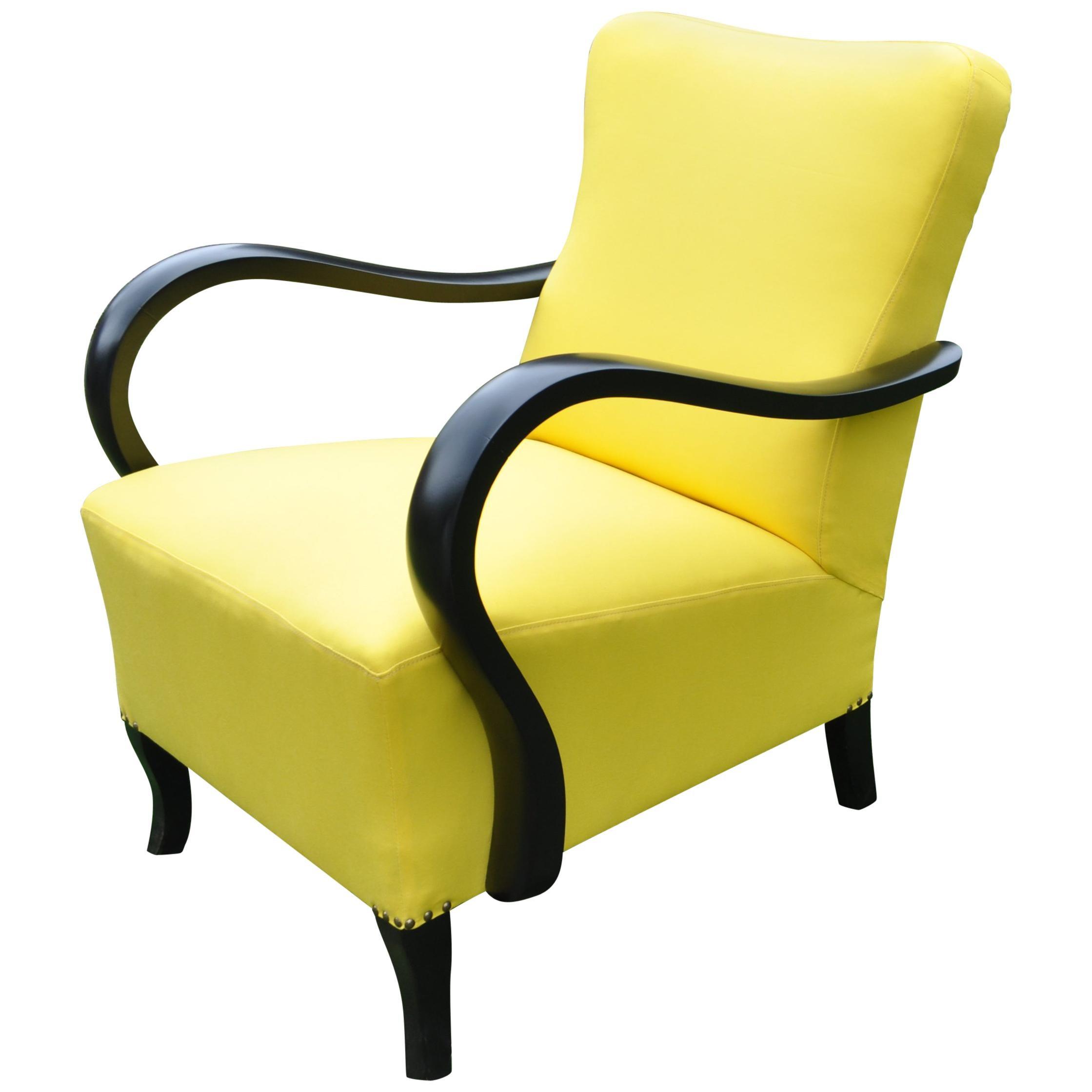 Art Deco Yellow Armchair, circa 1920s
