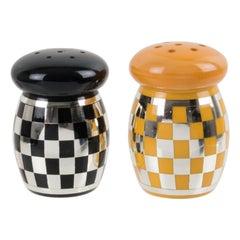 Art Deco Yellow Black Bakelite Condiment Salt Pepper Set