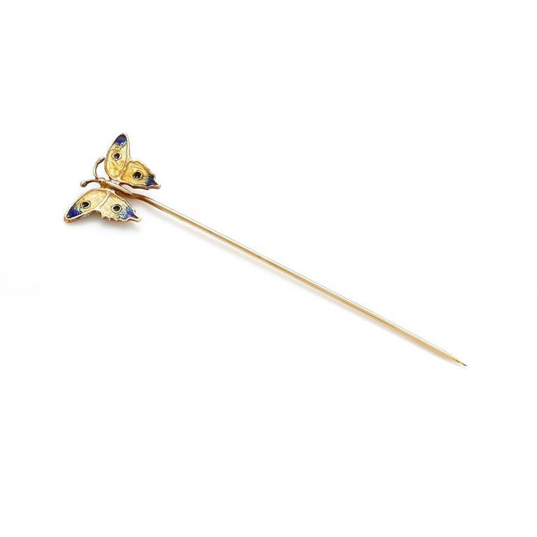 Art Deco Vintage Yellow Gold Butterfly Enamel Stick Pin For Sale