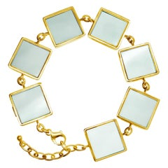 Art Deco Style Yellow Gold Plated Link Bracelet with Green Quartzes