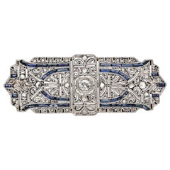 Art Deco Yellow Gold Platinum Topped Old Cut Diamond and Sapphire Brooch
