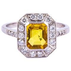 Art Deco Yellow Sapphire and Diamond Platinum Cluster Ring