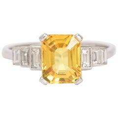 Art Deco Yellow Sapphire Diamond Cocktail Ring