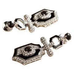 Art Deco Style Yin Yang Earrings in 18 Karat White Gold, Diamonds and Black Onyx