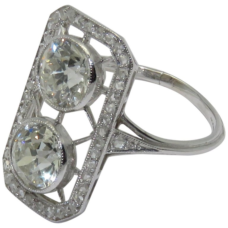 """Art Deco """"You and Me"""" Diamond Platinum Ring For Sale"""