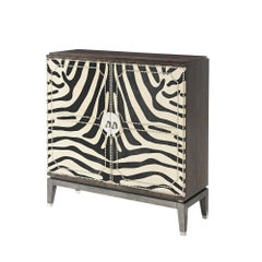 Art Deco Zebra Hide Bar Cabinet