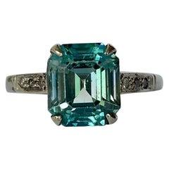 Art Deco Zircon and Diamond 9 Carat White Gold Ring