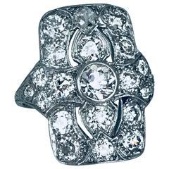Art Deco, circa 1915 Platinum 2.87 Carat Diamond Ring, European Cut Diamonds