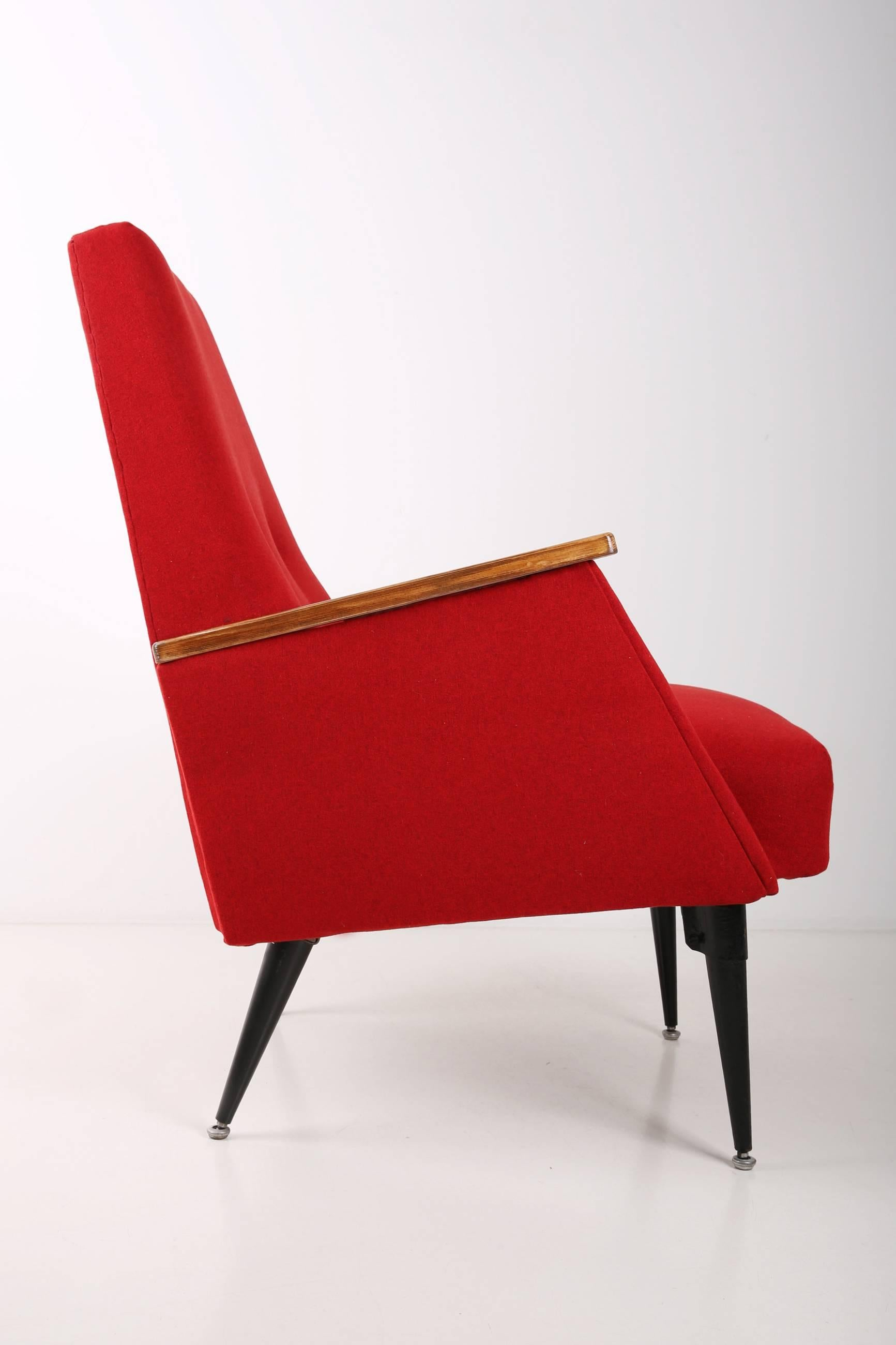 Merveilleux Hand Crafted Art Deco, Vintage Red Big Armchair, 1960s For Sale