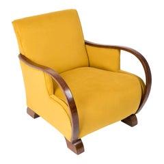 Art Deco, Vintage Yellow Big Armchair, 1920s