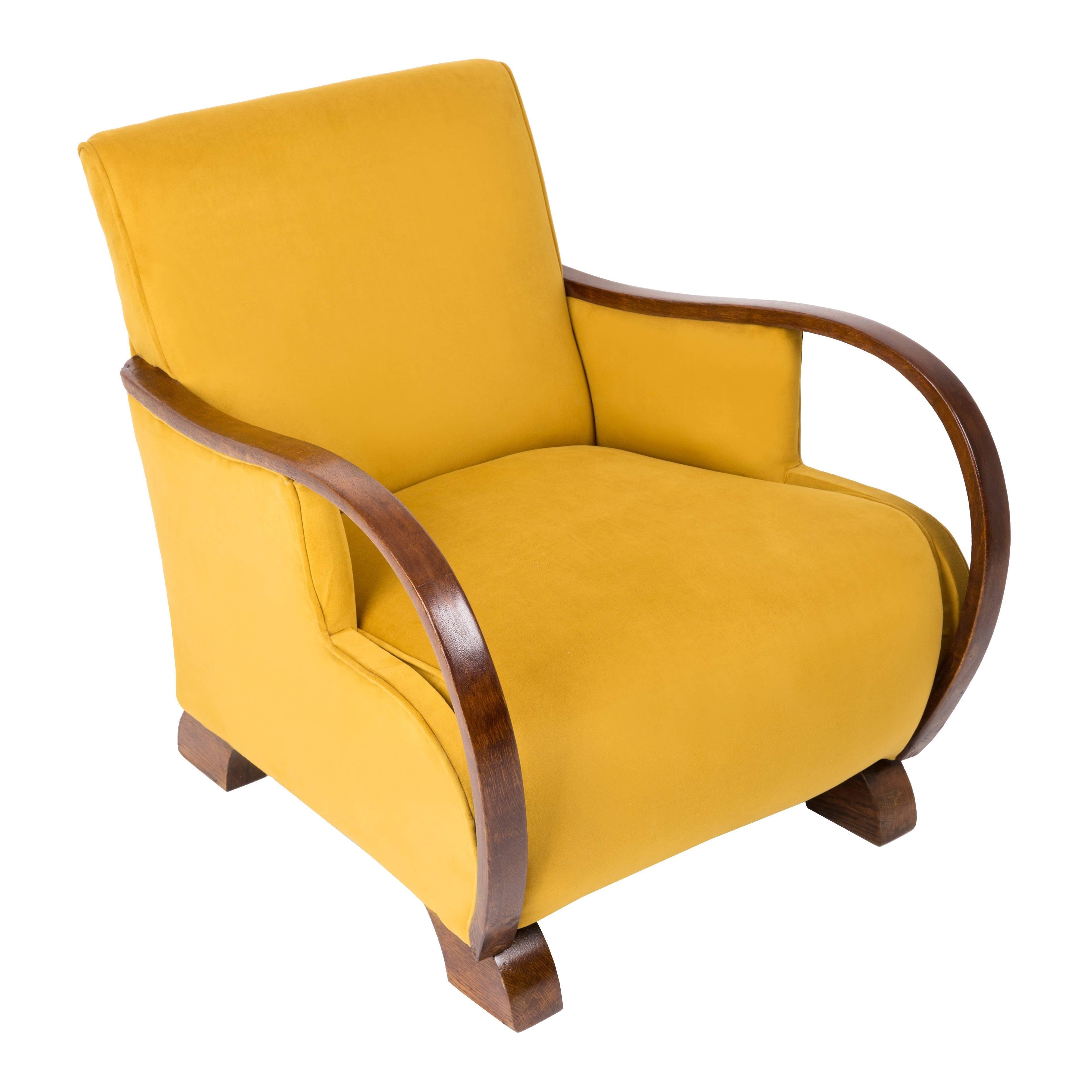 Bon Art Deco, Vintage Yellow Big Armchair, 1920s For Sale