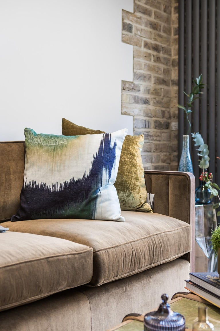 British Art Decor Inspired Cupid Sofa in Black American Walnut and Luxe Bronze Velvet For Sale