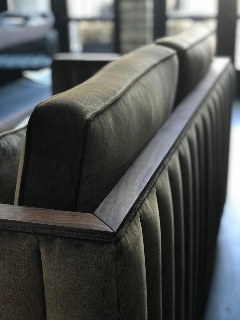 Art Decor Inspired Cupid Sofa in Black American Walnut and Luxe Bronze Velvet For Sale 6