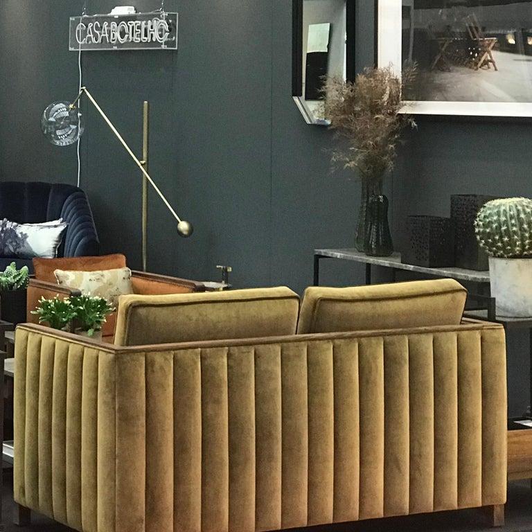 Art Decor Inspired Cupid Sofa in Black American Walnut and Luxe Bronze Velvet For Sale 1