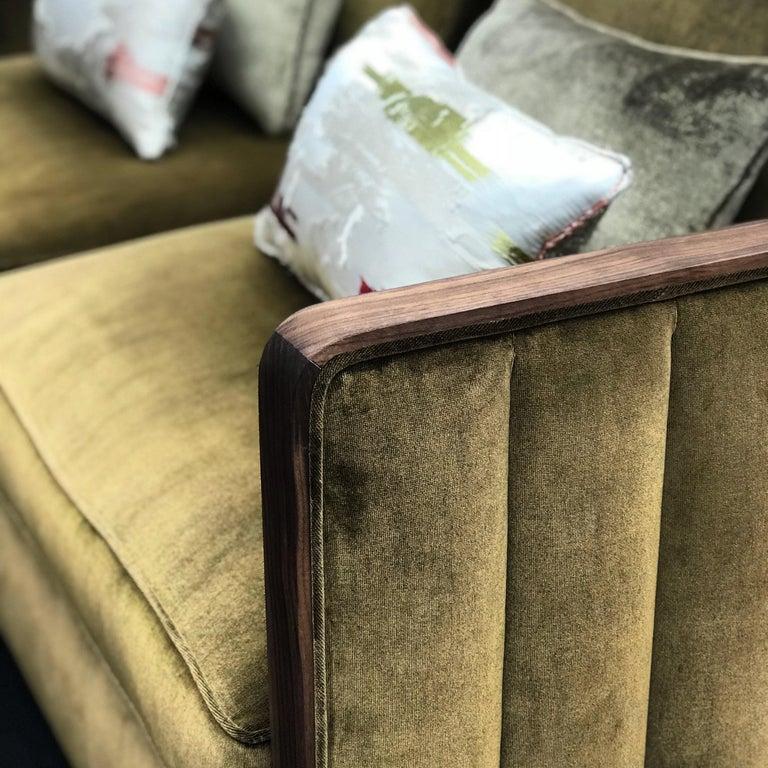 Art Decor Inspired Cupid Sofa in Black American Walnut and Luxe Bronze Velvet For Sale 2
