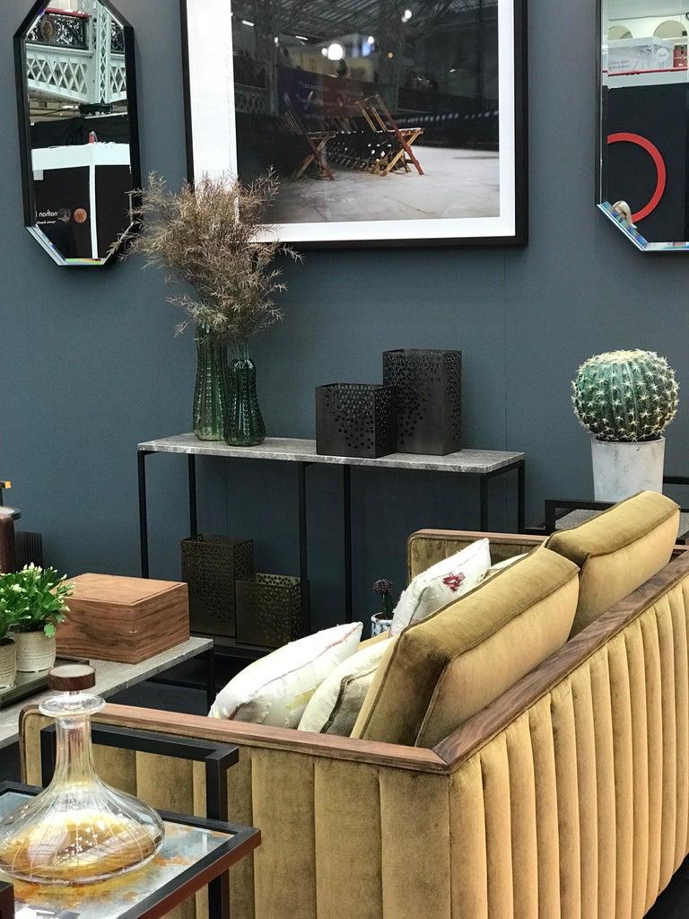 Art Decor Inspired Cupid Sofa in Black American Walnut and Luxe Bronze Velvet For Sale 5