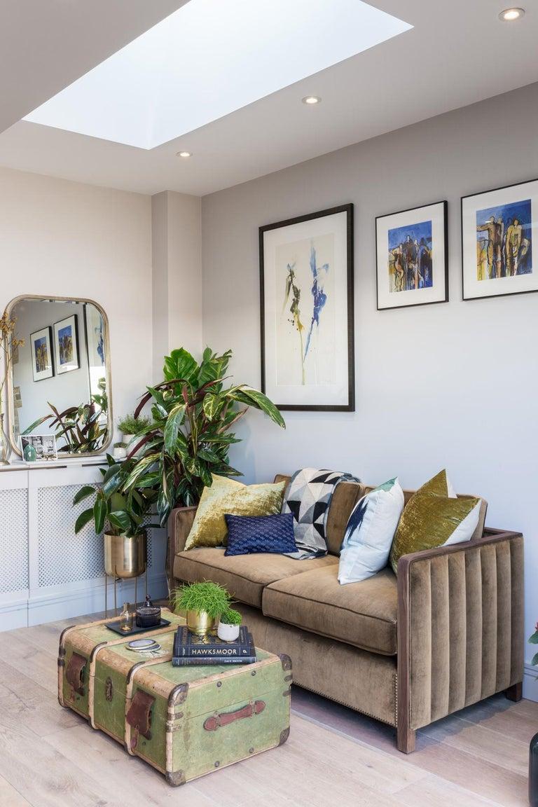 Art Decor Inspired Cupid Sofa in Black American Walnut and Luxe Bronze Velvet For Sale 3