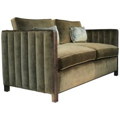 Art Decor Inspired Cupid Sofa in Black American Walnut and Luxe Bronze Velvet
