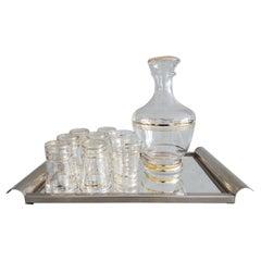 Art Deko Glass Carafe Liquor Set on Mirror Tray, France, 1935