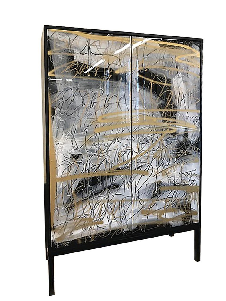 Canadian Art Door Cabinet by Morgan Clayhall, The Hudson Cabinet, Walnut and Steel For Sale