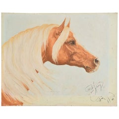 Art Drawing of a Horse by Pat King, 1969
