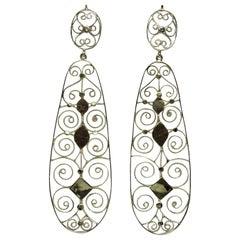 Art Etruscan Filigree Yellow Gold Dangle Earrings