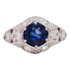 Art GIA Certified 1.34 Carat Ceylon Sapphire Diamond Brand New Ring