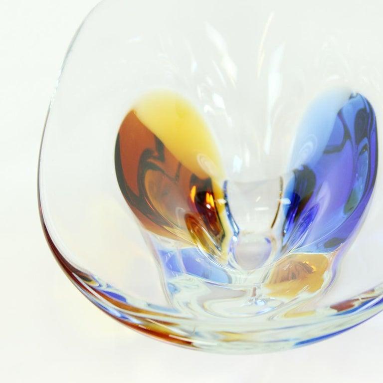 Mid-Century Modern Art Glass Bowl by Frantisek Zemek for Sklarna Mstisov, 1960s For Sale