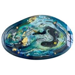 Dino Martens Aurelia Art Glass Charger Ethereal Design of Gold, Silver Leaf