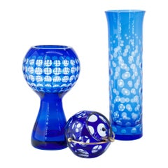 Art Glass Collection Mid-Century Modern Maximalist Op Cobalt Dot Orb Space Age
