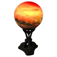 Art Glass Globe Table Lamp Mounted on Dolphin Base, Art Deco Era