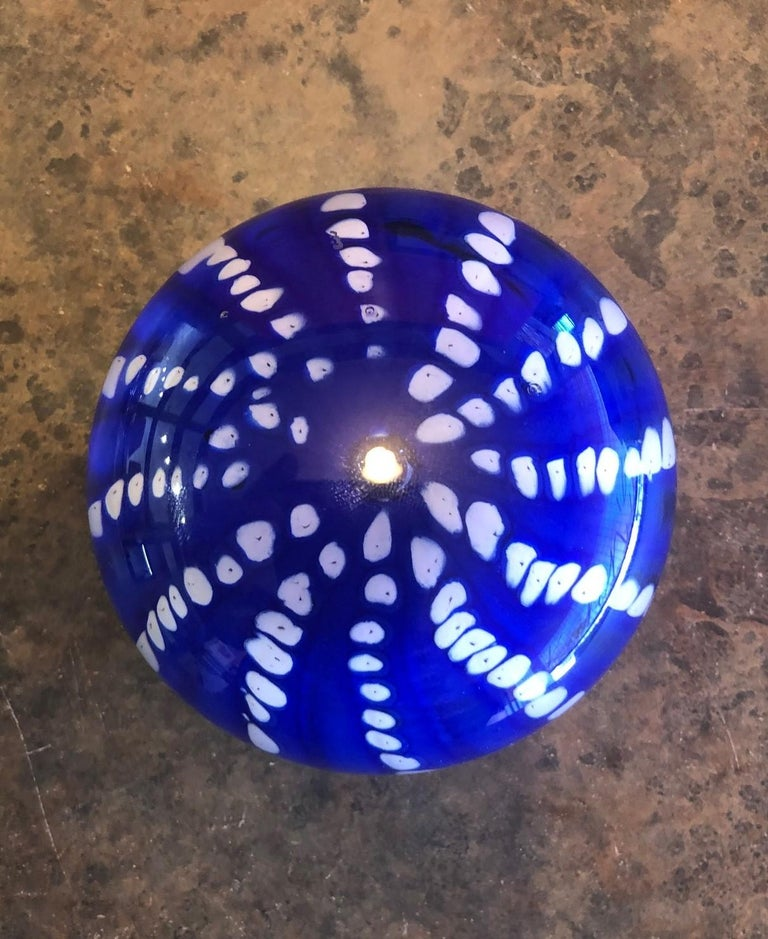 Art Glass Orb Sculpture or Paperweight by Brian Higer of American Studio In Good Condition For Sale In San Diego, CA