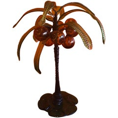 Art Glass Palm Tree with Coconuts by Murano Glass Studios