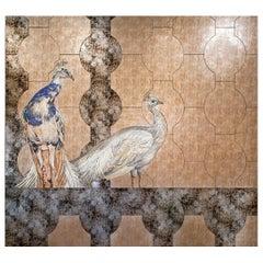 Art Glass & Peacock Mosaic Decorative Panel Multiple Uses Dimension Customizable