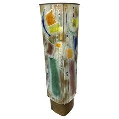 Art Glass Sculptural Floor Lamp with Bronze Fittings