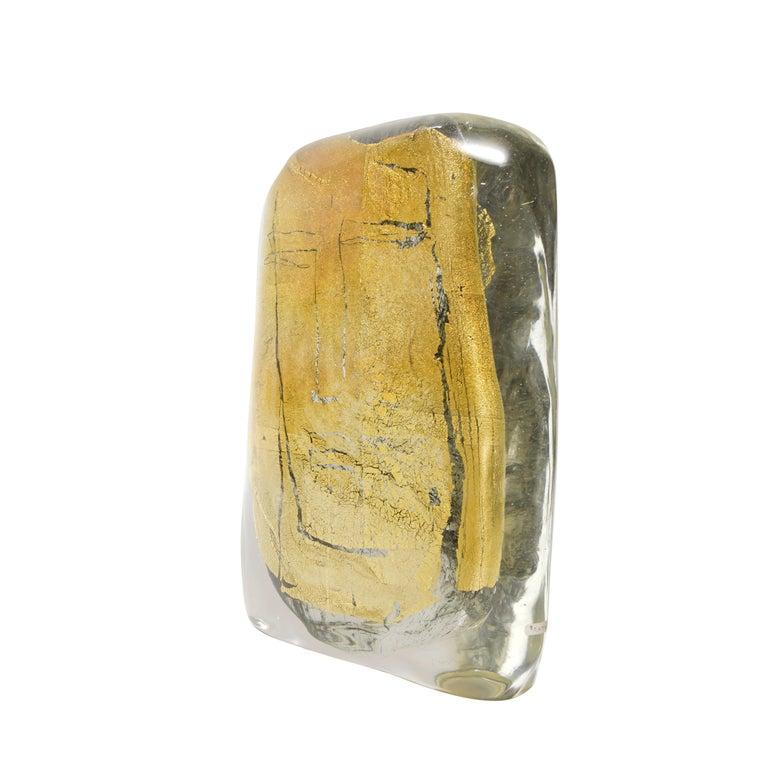 """Modern Art Glass Sculpture Titled """"Beatus Vir"""" Blue Clear Blown Glass Gold Italian 2007 For Sale"""