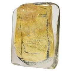 """Art Glass Sculpture Titled """"Beatus Vir"""" Blue Clear Blown Glass Gold Italian 2007"""