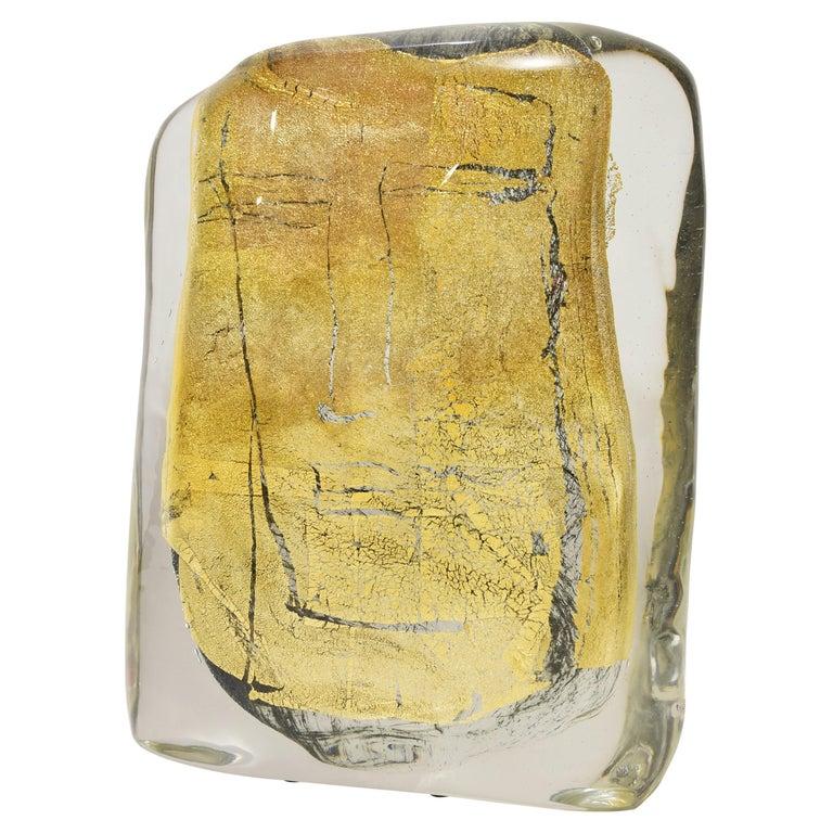 """Art Glass Sculpture Titled """"Beatus Vir"""" Blue Clear Blown Glass Gold Italian 2007 For Sale"""
