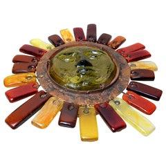 Art Glass Sun Sculpture Lamp by Felipe Derflingher for Feders
