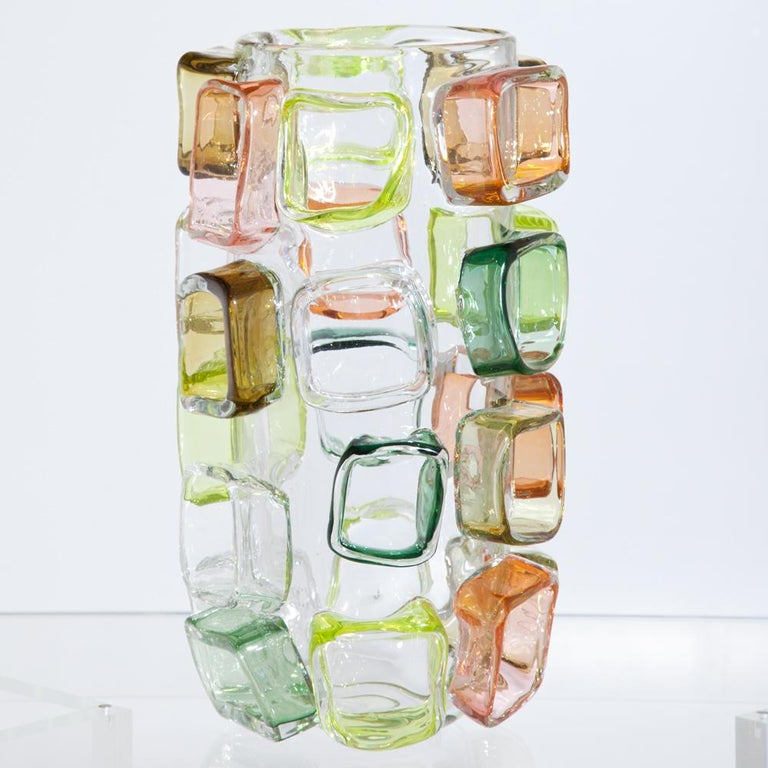 Limited edition art glass vase by Martin Postch. Vase shades of green, clear and amber applied prunts.