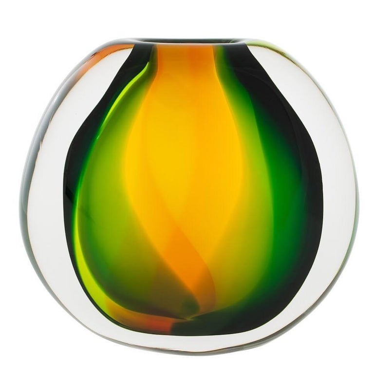Art Glass Vase, Paradise Flat Round by Siemon & Salazar - Made to Order For Sale