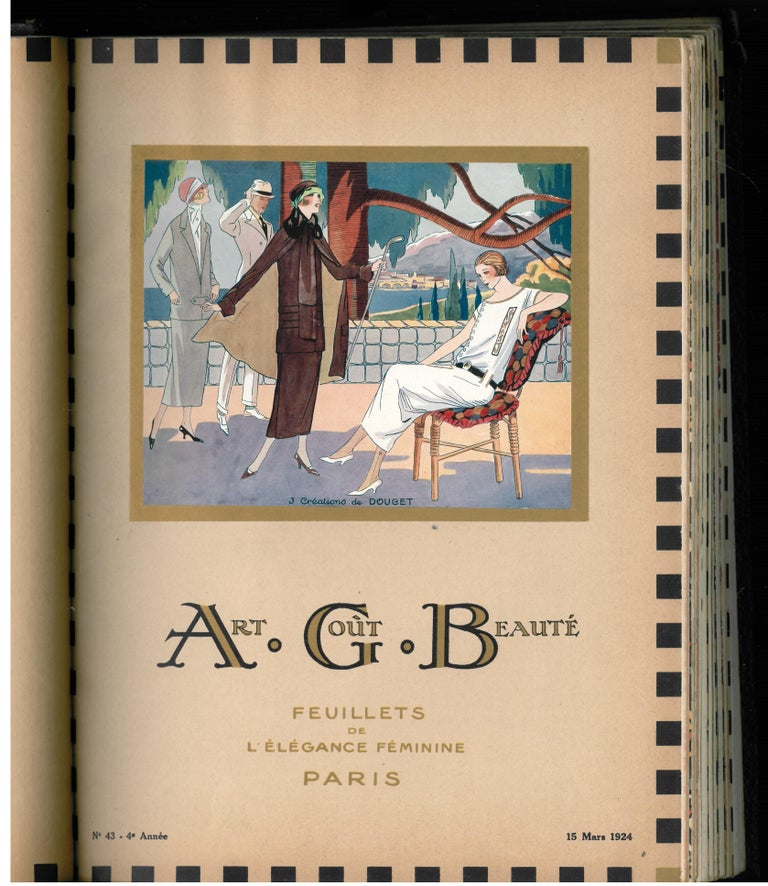 This is an extremely rare bound set of the 12 ART, GOUT, BEAUTE monthly fashion magazines from 1924. It was noted or its superb art deco pochoir illustrations, some of which were double pages. In each magazine there are several other illustrations